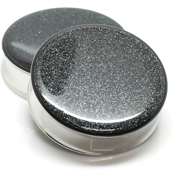 Black Glitter Ear Plugs - BodyJewelrySource