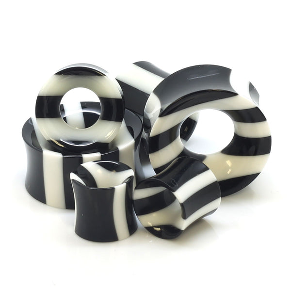 Zebra Pattern Bone & Horn Ear Tunnels