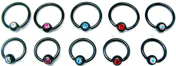 Blackline Captive Rings With Stone - BodyJewelrySource