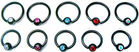 Blackline Captive Rings With Stone