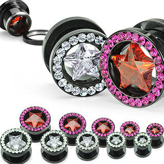 Blackline Gem Flesh Tunnels With Star - BodyJewelrySource