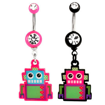Robot Logo Navel Ring