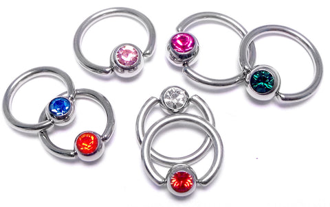 Captive Rings with Single Stone