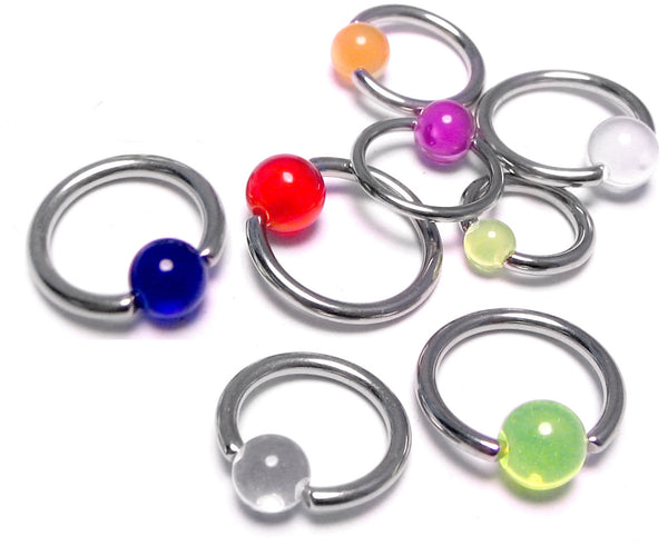 Captive Rings with Acrylic Ball