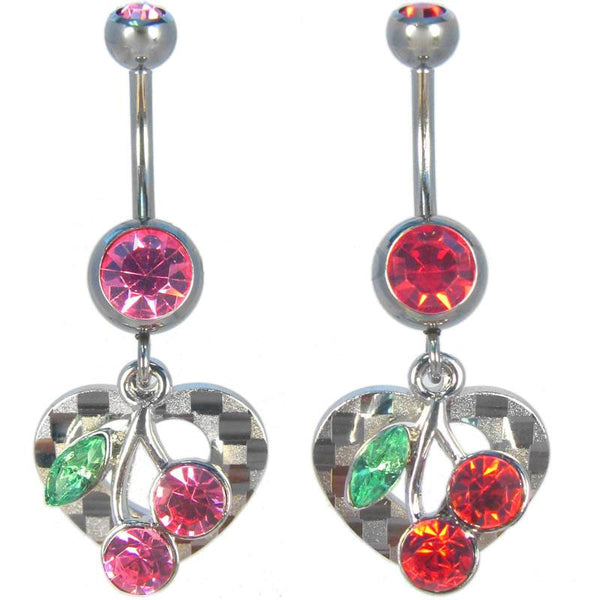 Checker-textured heart with cherry navel ring