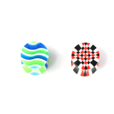 Checker and Wave Design Ear Gauges