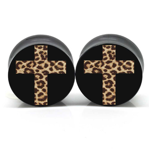 Black Leopard Cross Ear Plugs