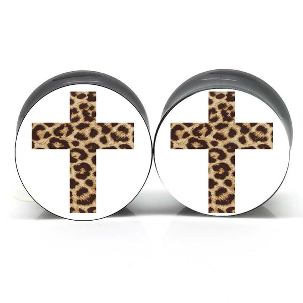 White Leopard Cross Ear Plugs