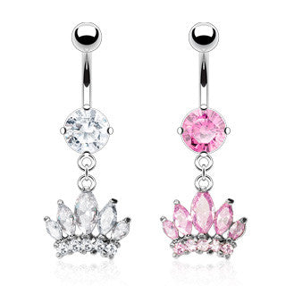 Cubic Zirconia Crown Navel Rings