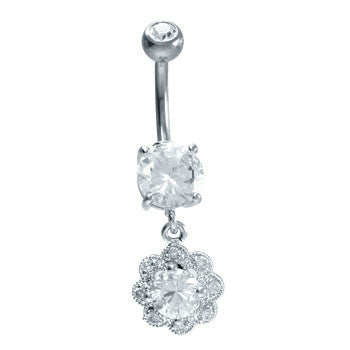 Cubic Zirconia Flower Navel Ring