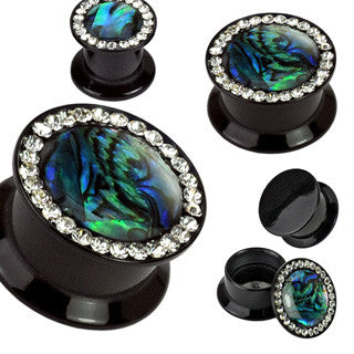 Double Flared Plugs with Gems & Abalone Inlay
