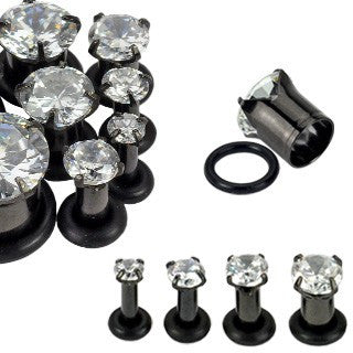 Blackline Cubic Zirconia Prong Ear Gauges - BodyJewelrySource