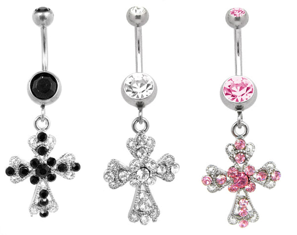 Intricate Cross Navel Ring
