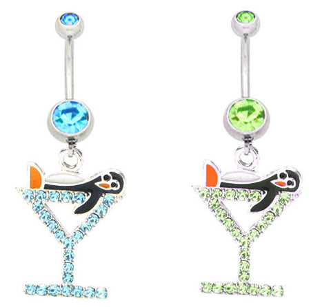 Penguin in a martini glass Navel Ring
