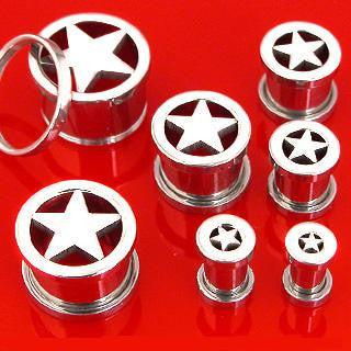 Flesh Ear Tunnels with Laser Cut Star