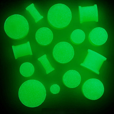 SALE -  Glow in The Dark Double Flare Solid Silicone