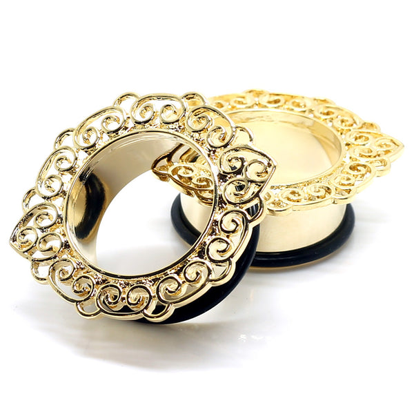 Stainless Steel Gold Filigree Ear Tunnels
