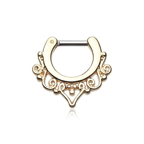 Golden Goddess Filigree Septum Clicker Ring