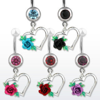 Rose & Heart Navel Ring