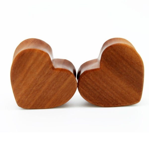 Cherry Wood Heart Shaped Ear Plugs