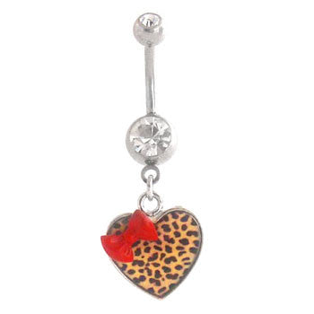 Navel Ring With Leopard Bow Heart