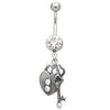 Navel ring with Heart Lock and key