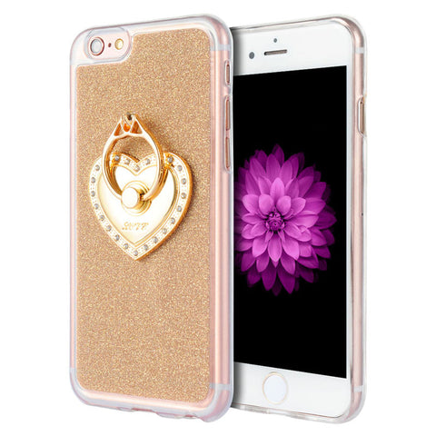iPhone 6/6s Gold Glitter Ring Case