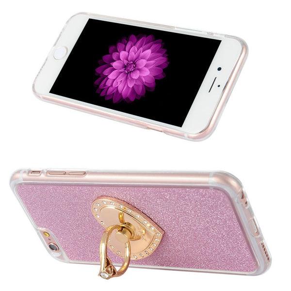 iPhone 6/6s Pink Glitter Ring Case