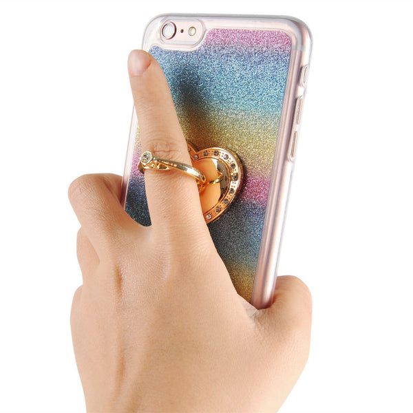 iPhone 6/6s Rainbow Glitter Ring Case