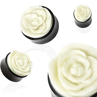 Organic Kambing Plugs with Rose Inlay