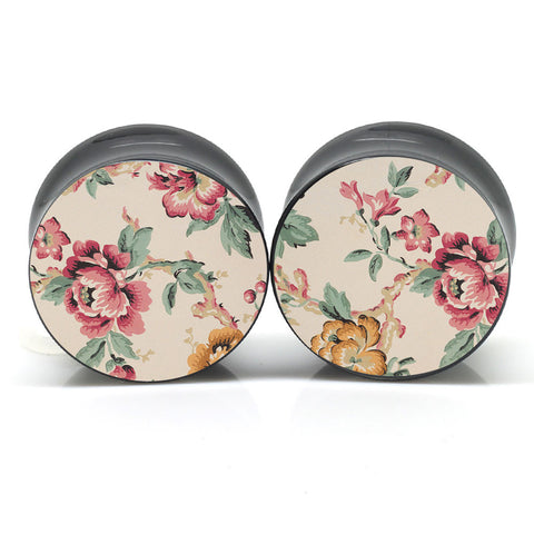 Light Florals Ear Gauges
