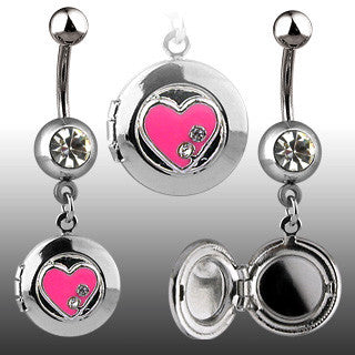 Locket With Heart Navel Ring