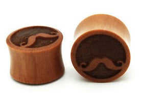 Organic Mustache Engraved Ear Plugs