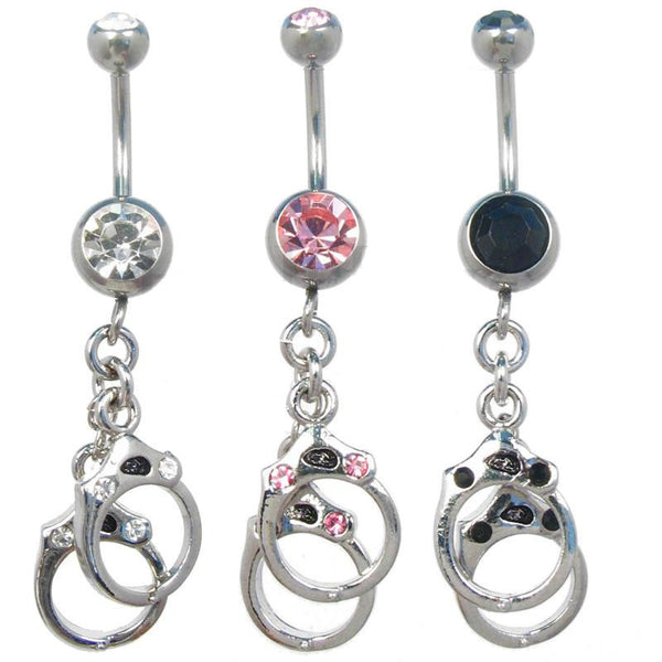 Navel ring with handcuffs