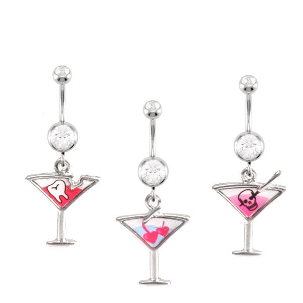 Navel Ring With Martini Dangles