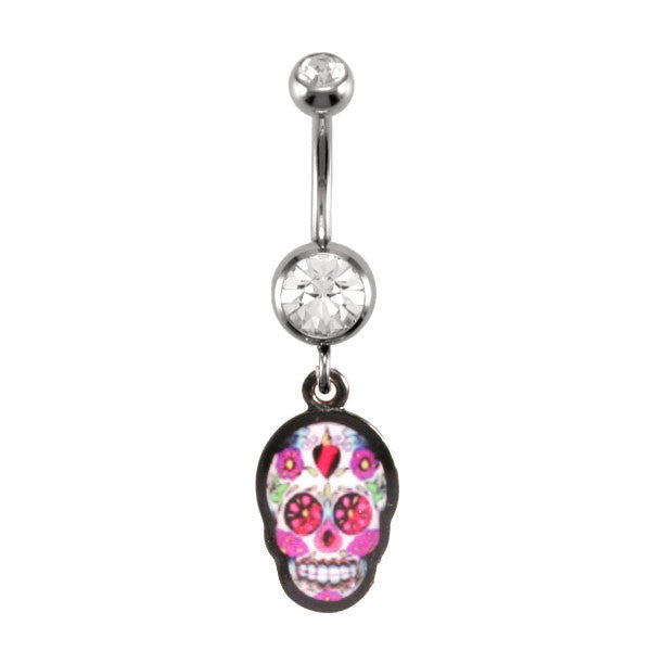 Navel Ring With Sugar Skull