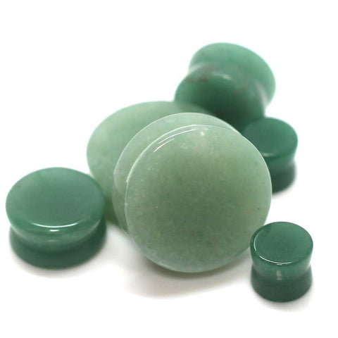Double Flared Solid Jade Fluorite Stone Ear Gauges