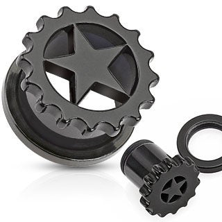 Blackine Star Sprocket Ear Tunnels - BodyJewelrySource