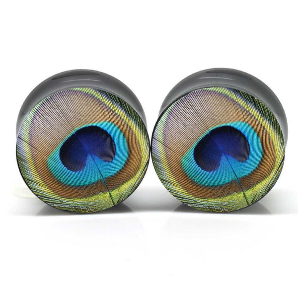 Peacock Feather Ear Plugs
