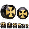 Gold Metallic Iron Cross Plugs