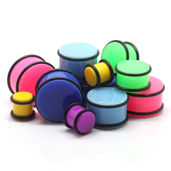 Acrylic Neon Plain UV Ear Plugs - BodyJewelrySource