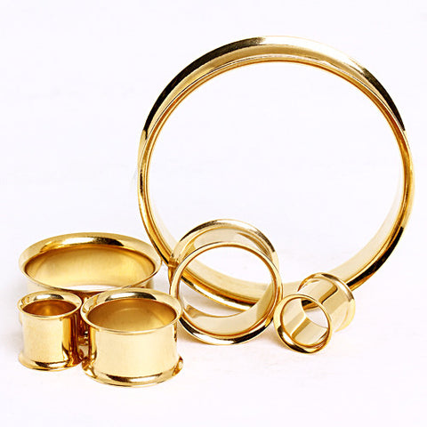 Sale Gold Plated Double Flared Tunnels