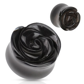 Organic Black Agate Rose Carved Ear Plugs