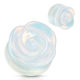 Organic Opalite Rose Carved Ear Plugs