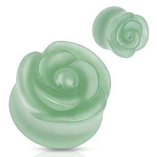 Organic Green Aventurine Rose Carved Ear Plugs