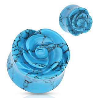 Organic Blue Turquoise Rose Carved Ear Plugs