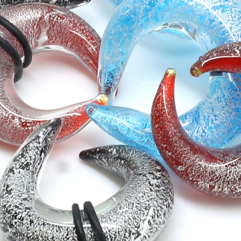 Pyrex Glass Glitter Buffalo Ear Tapers