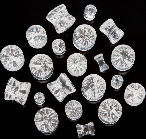 "Clear Quartz ""Shattered Look"" Plugs"