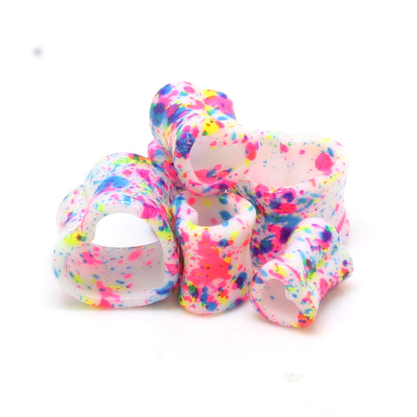 Heart Shaped Neon Splatter Ear Tunnels