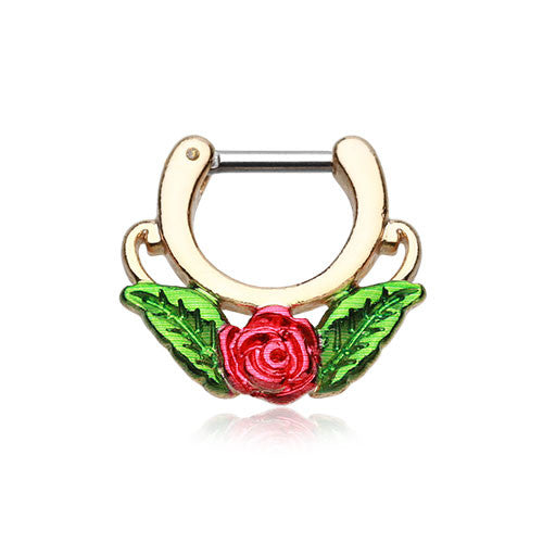 Golden Red Rose Septum Clicker Ring
